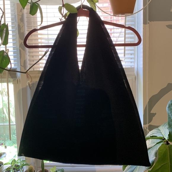 MM6 Maison Martin Margiela Handbags - MM6 Maison Margiela Black Mesh Triangle Bag